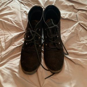 Black, size 7, wedge, ankle booties